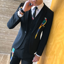 New 3 Pieces Costume Homme Mariage 2017 Men Suits Embroidery Prom Suits Men Black Latest Designs Vintage Mens Suit for Wedding