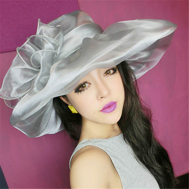 Online Shop  FLB  Elegant Fashion Women s Church Hats For Women Flower Hat  Summer Gorras Sun Hat Wedding Kentucky Derby Wide Brim Sea Beach  e0caf1b7934