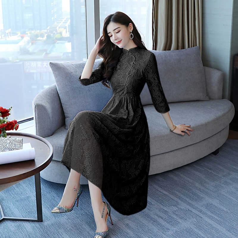92e260da0e17 ... 2018 Autumn Winter Vintage Plus Size White Lace Midi Dresses Women  Elegant Korean Black Bodycon Maxi ...