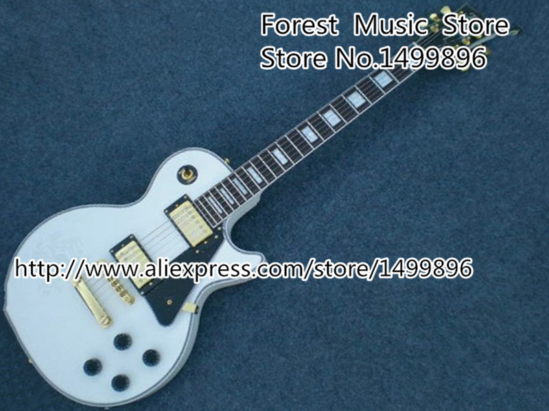 Top Selling China 50th Commenoration White LP Custom Guitar Electric Left Handed Custom Available new arrival custom 22 lp guitar with tin top custom guitar & kit available
