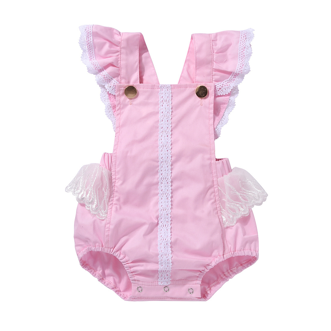 Pink Princess Baby Girls Romper Ruffles Lace Belt Newborn Rompers Infant Onepiece Button Baby Clothes