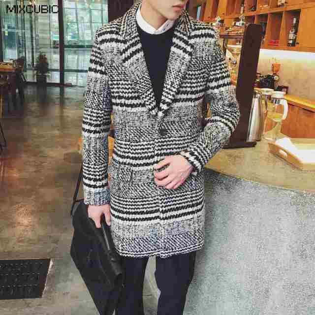 MIXCUBIC зима Британский стиль ретро Хаундстут шерстяные Куртки пальто мужчины длинный отрезок повседневный комплект воротником шерстяное пальто мужчины, M-XXL