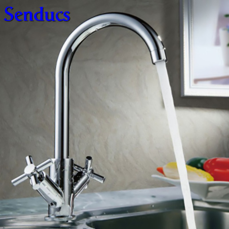 free shipping hot sale dual handle kitchen sink mixer tap with full solid brass kitchen sink