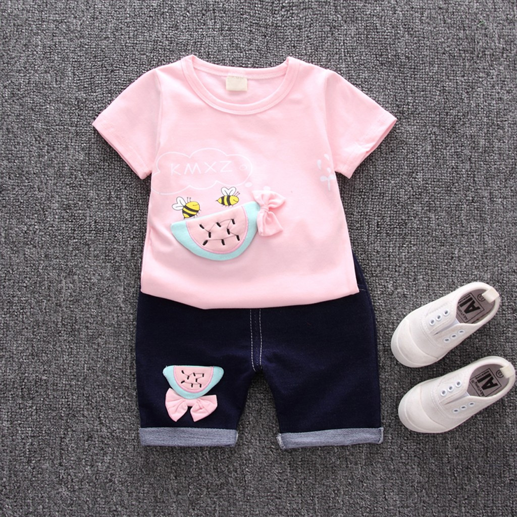 9cbd792e74e2 Toddler Baby Kids Girls Bee Fruit T-shirt Tops Shorts Outfits Clothes Set  kids clothes children clothes ~ Hot Sale July 2019