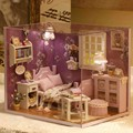 DIY Wooden Handcraft 1:32 Miniature Dollhouse Lovely Cute Dreaming Doll house Model Kit Gift with Cover LED Light Sweet Sunshine