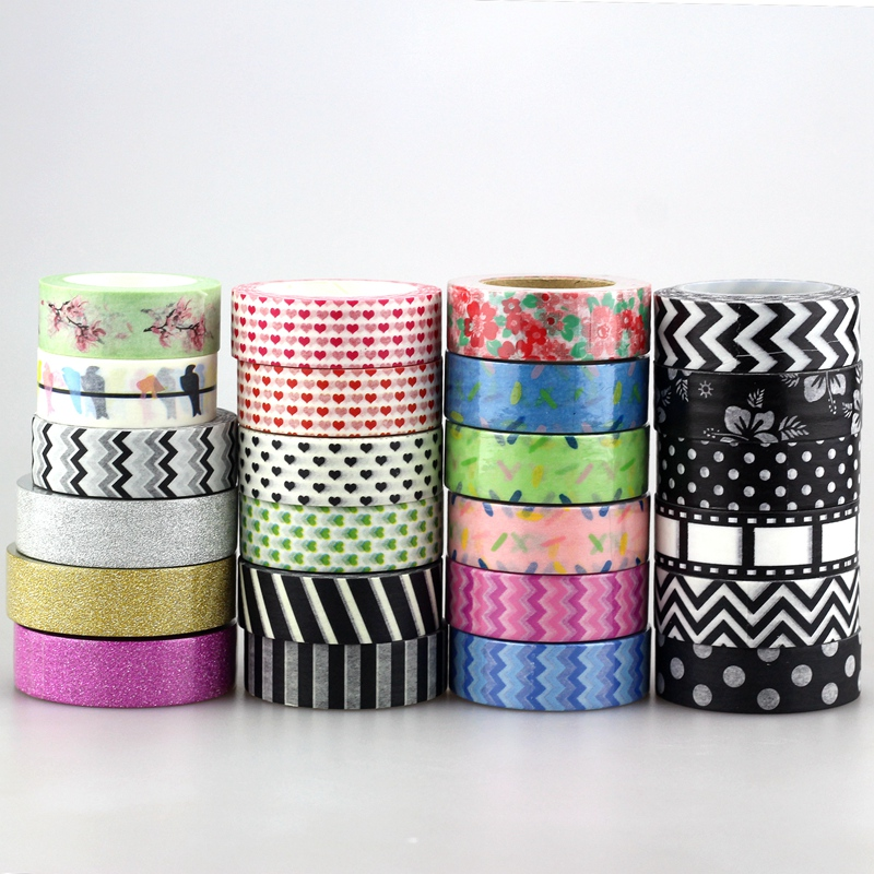 Cute 1pc 15mm * 10m Glitter Tape Love ,flowers,animals, chevrons black colors for DIY Japanese Paper Washi Tape Masking Tape 10m 586 patterns hot 30pcs lot tape flowers chevrons print deco diy adhesive masking tape japanese washi tape paper 10m wholesale