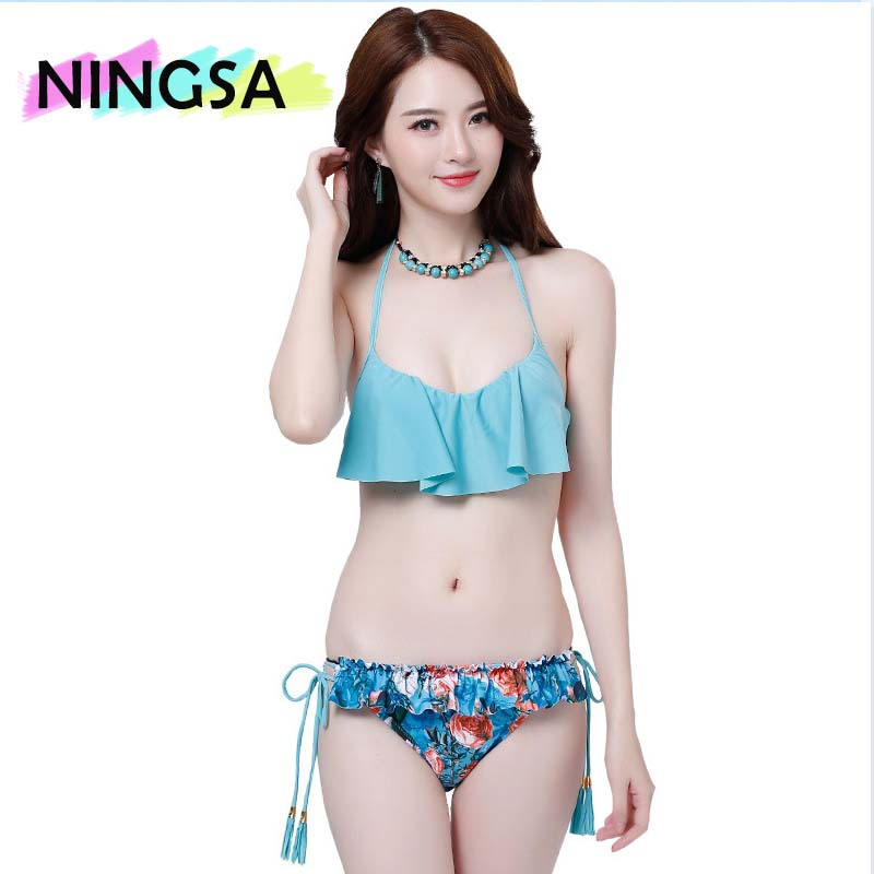 NINGSA Hot!Bikinis New Push UP Swimsuit Bathing suit sexy women High Print Floral swiming suits Off Shoulder Bandeau Swimwear