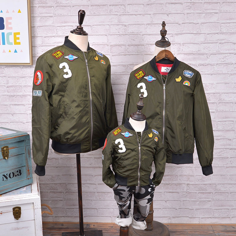 Family Matching Outfits Bomber Jackets Mother Daughter Boys Army Green Embroidered Jacket Coats Family Clothes Bomber Jackets sleeve patched shoulder zip bomber jacket