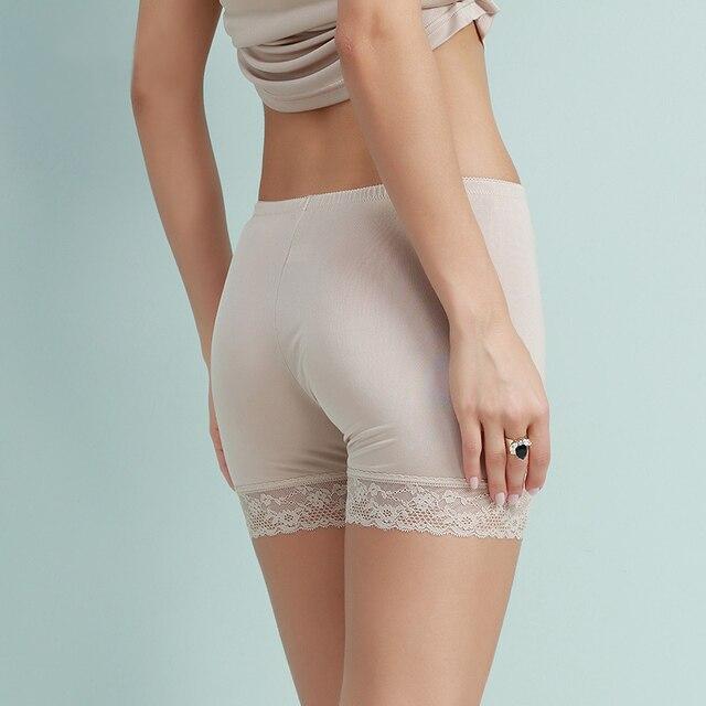 Las mujeres de seda de los pantalones cortos de seguridad seamless boxer de seda Natural Saludable shorty femme dentelle blanco negro rosa nude 2016 de la ropa interior