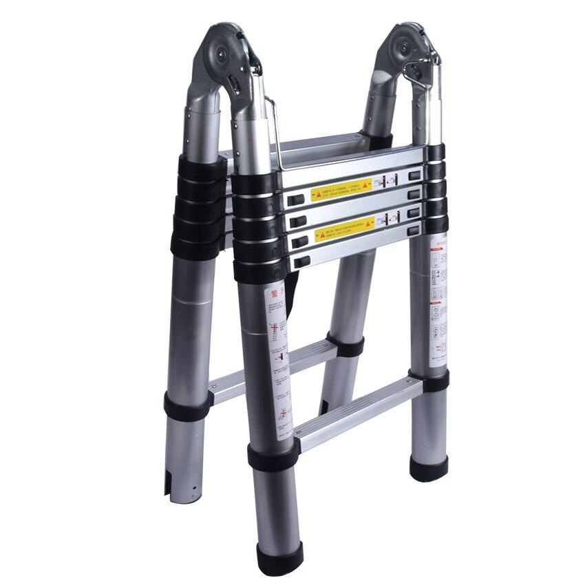 1.9M+1.9M Telescopic Ladder Thickening Alloy Aluminum Doorway&herringbone   Retractable Ladder Multifunctional  Portable Ladder