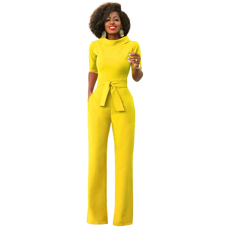 MONNORQ 2018 Stylish Summer Jumpsuits Classic Style Half Sleeve Stand Collar Sashes Office Lady OL Jumpsuits Plus Size XXL