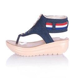 Women Sandals Zip Denim Wedges Shoes Summer Beach Shoes Fashion Platform Sandals Ladies Shoes Woman Sandalie Flip Flops Creepers 3