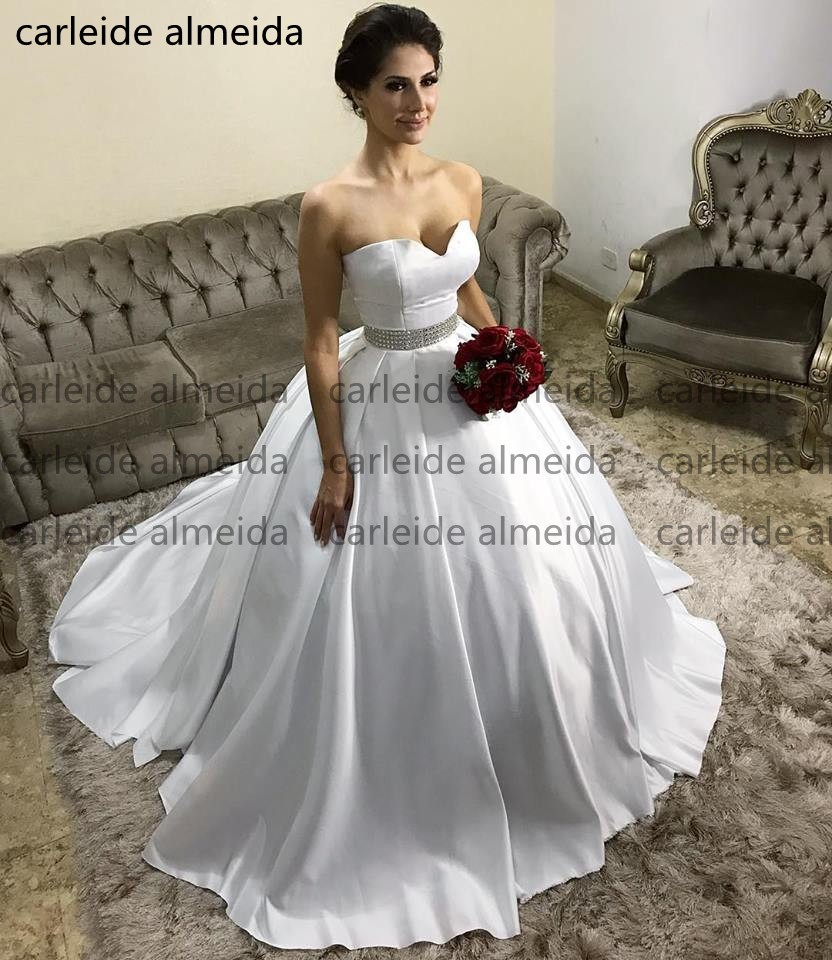 Simple And Elegant White Satin Sweetheart With Jacket: Robe De Mariee Sweetheart Ball Gown Wedding Dresses