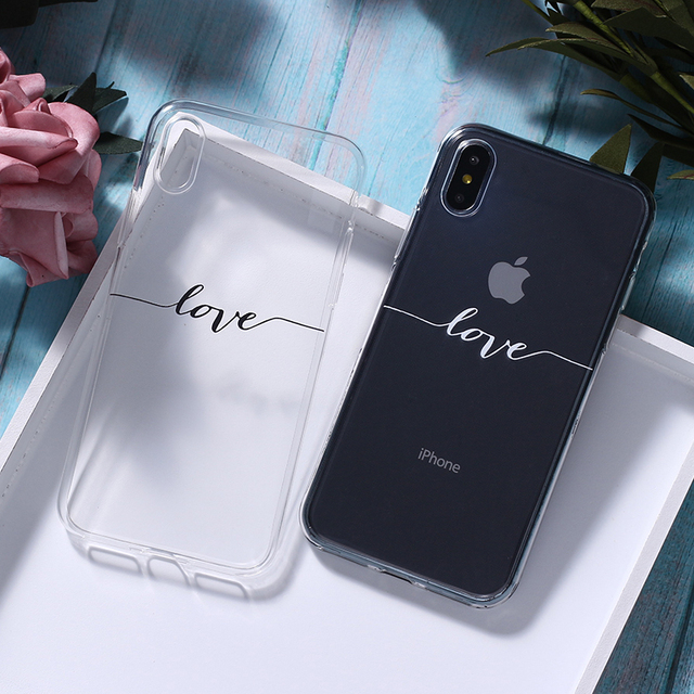 For iPhone 7 7Plus 6 6S 8 8Plus X XS Max SAMSUNG Galaxy Lover Quote Love Smile Heart Simple Letter Soft Clear Phone Case Cover