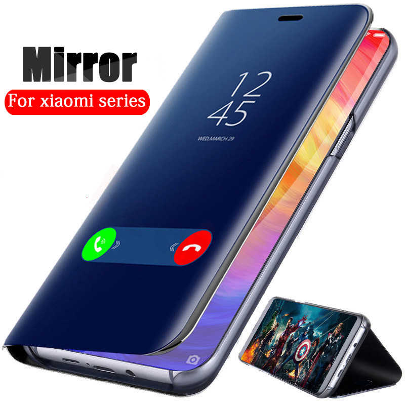 Luxury Mirror Leather Flip Case Redmi Note 7 6 5 Pro Go 6A Y1 s2 Cases For Xiaomi mi 9 se 8 A2 Lite 6X play max 3 poco F1 Cover