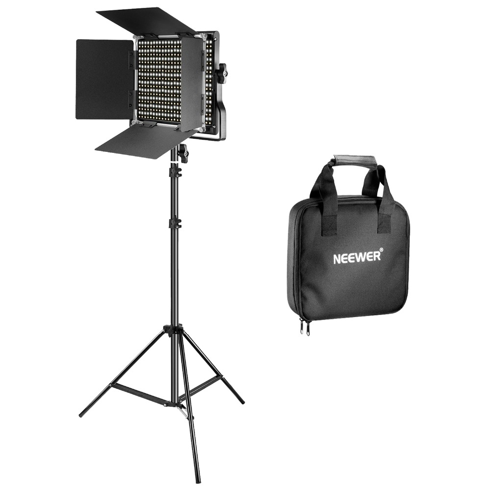 все цены на Neewer Bi-Color 660 LED Video Light Stand Kit includes 3200k-5600K CRI dimmable light with U bracket/barn door and light booth онлайн