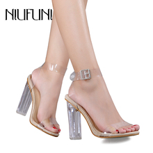 NIUFUNI Women Sandals Lucite Transparent High Heels Open Peep Toe Sandal Thick Heeled Adjustable Buckle Lady Shoes Plus Size 42 genuine leather crystal open the toe thick high heels women sandals 2016 new fashion sexy peep toe lady summer sandal shoes