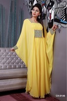 New Arrival 2015 Abaya Dubai Evening Dresses Square Neck Yellow Evening Gown With Sleeve Beaded Chiffon