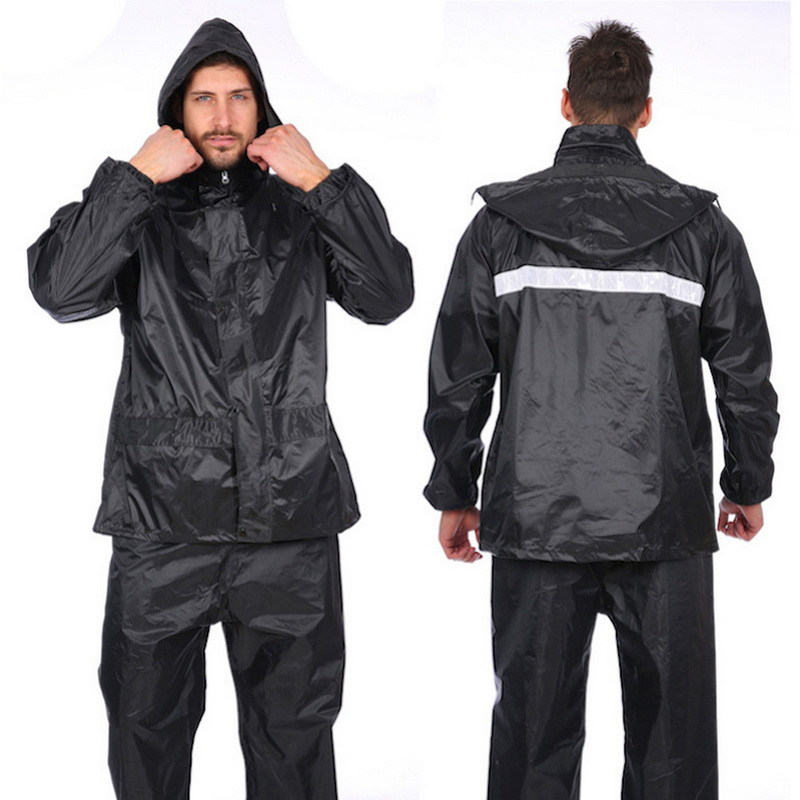 Oeak 1 Set Waterproof Men Rain Suit Rainwear Outdoor Windproof Jacket Conjoined Raincoats Overalls Motorcycle Fashion Raincoat