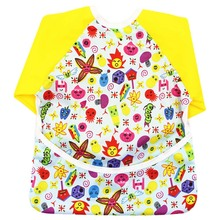 Baby Bibs Burp Clothes Infant Cartoon Printed Long Sleeve Waterproof Cloth Baby Double Scarf Smock Baby Feeding Accessories Gift