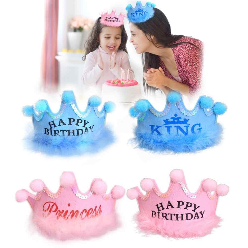 誕生日帽子子供のための大人子供赤ちゃん王女ティアラpom王冠王誕生日帽子スパークルゴール花スタイル
