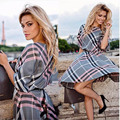 2017 Spring Summer New Fashion Women Plaid Pr-neck Half Sleeve Tunic Vintage Dresses Plus Size A-line Dress