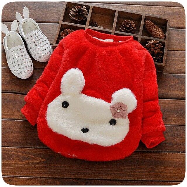 2016 новый футболка зима осень девочка свитер детей для младенцев одежда для девочек милый мультфильм кролик искусственного меха новорожденных с капюшоном