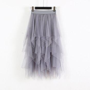 elastic waist scallop hem textured skirt Women Irregular Hem Mesh Tutu Skirt Fashion Elastic High Waist Long Tulle Skirt   Fashion Spring Party Skirt for Ladies