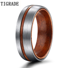 TIGRADE 6/8mm Titanium Ring Men Women Wedding Band Brown Nature Wood Comfort Fit Dome Silver Matte Finish Grooved Couple Rings