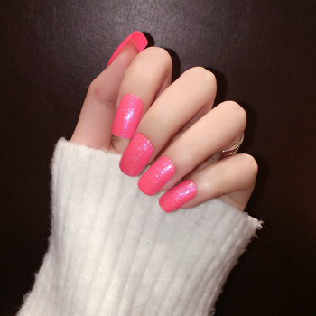Clitter long nails color pink
