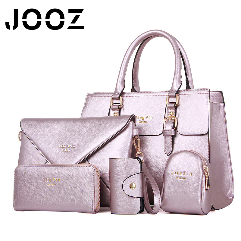 JOOZ Brand Solid PU Leather Lady Handbags 5 Pcs Composite Bags Set Women Shoulder Crossbody Messenger Bag Clutches Purse Wallet jooz brand luxury belts solid pu leather women handbag 3 pcs composite bags set female shoulder crossbody bag lady purse clutch