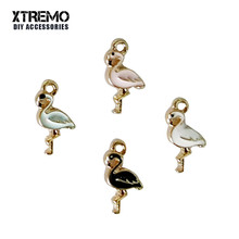 6pcs Fashion Design Animal Charms 4 Colors Metal Alloy Enamel Flamingo Bird Pendants for Women DIY Jewelry Making Lady Gifts