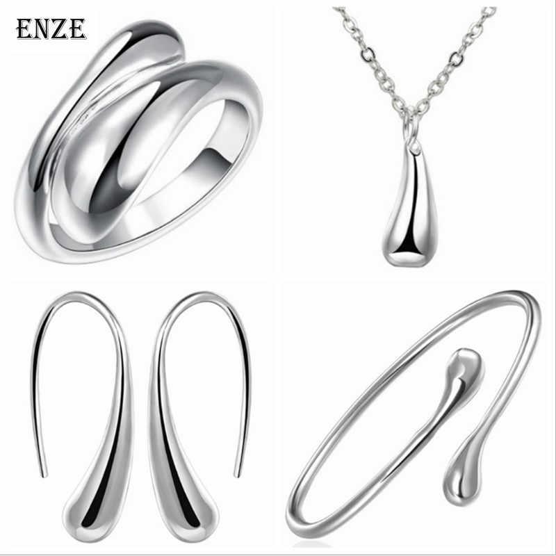 ENZE livraison gratuite mode femmes bijoux couleur argent goutte d'eau boucles d'oreilles ouverture taille réglable accessoires en gros
