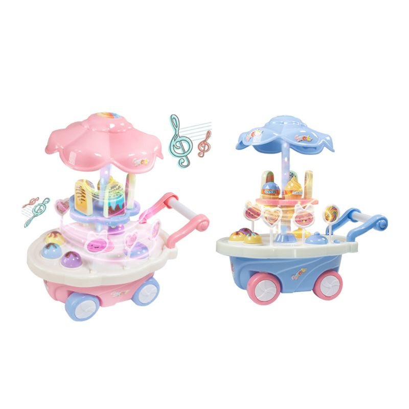 Premium New Universal Ice Cream Wheel Trolley Rotary Simulation Electric Light Music Toy For Kids Playing Educational Toys Gifts