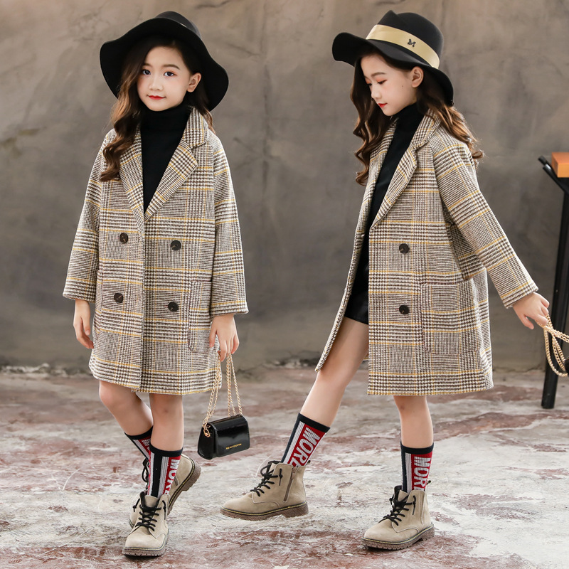 Kids girl overcoat Winter new fashion Houndstooth wool coat for girls Teens autumn jacket warm long outerwear Children Windproof girl
