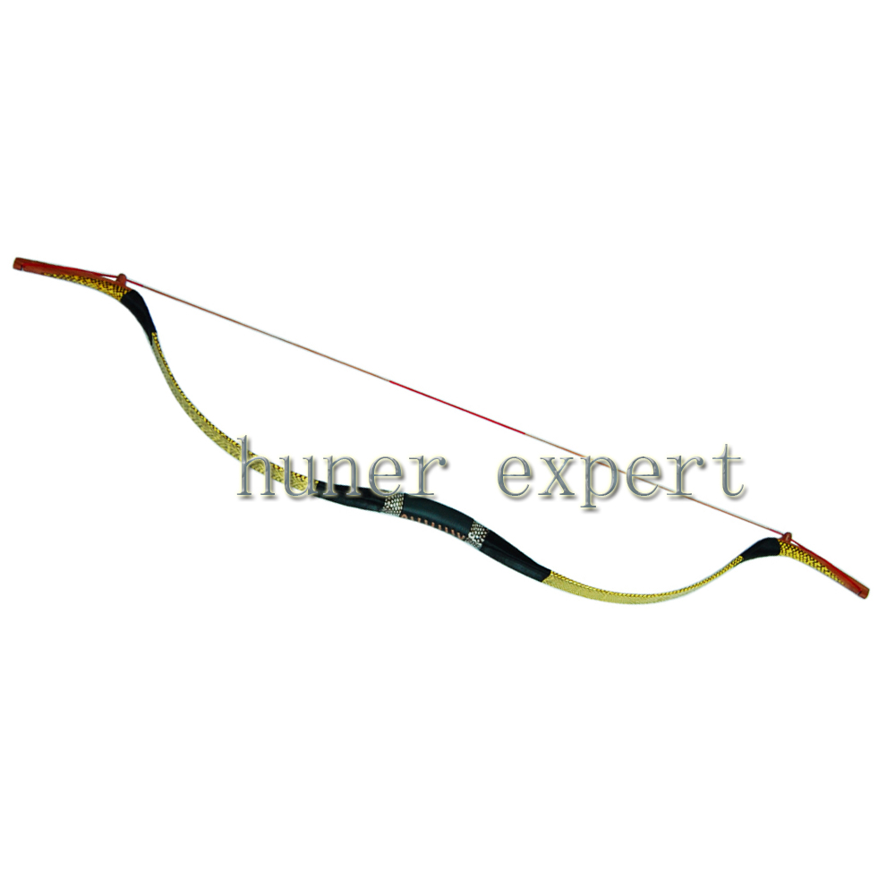ФОТО One DIY china traditional recurve bow 30lbs yellow snakeskin archery hunting LH or RH for youth or adult