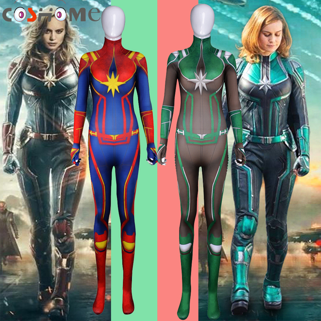 9dd90b9d38e Coshome Captain Marvel Cosplay Costumes Women Red Blue Jumpsuit Lycra  Bodysuit for Halloween Party Christmas