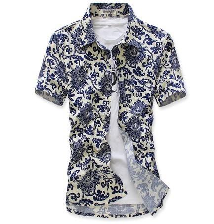 Envío de la nueva 2017 de moda de verano para hombre floral azul vestido blanco camisas de los hombres slim fit camisa casual de manga corta delgada hombres/CX1