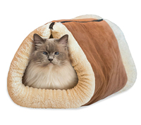 2-in-1 Self Heating Warm Cat Pet Bed Tunnel Portable Cotton Tube Cushion Mat Pad For Dog Kennel Crate House