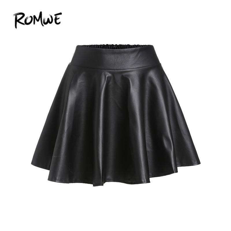 85beae07df ROMWE Black PU Leather Flare Mini Skirt Women Elastic High Waist Cute A  Line Autumn Skirts