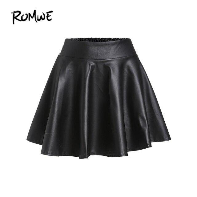 c1315db4d2459 ROMWE Black PU Leather Flare Mini Skirt Women Elastic High Waist Cute A  Line Autumn Skirts 2019 New Casual Draped Ladies Skirt