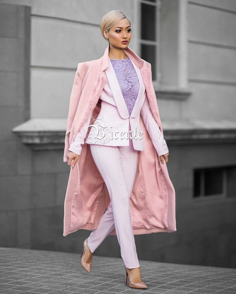 Chic Imitación Manga Rosa Larga Diseño Casual Mujer Collar abajo Abrigo Nuevo Club Piel Rosado De Largo Vicente Ropa Giro Lana 2019 EqxC6wzWF