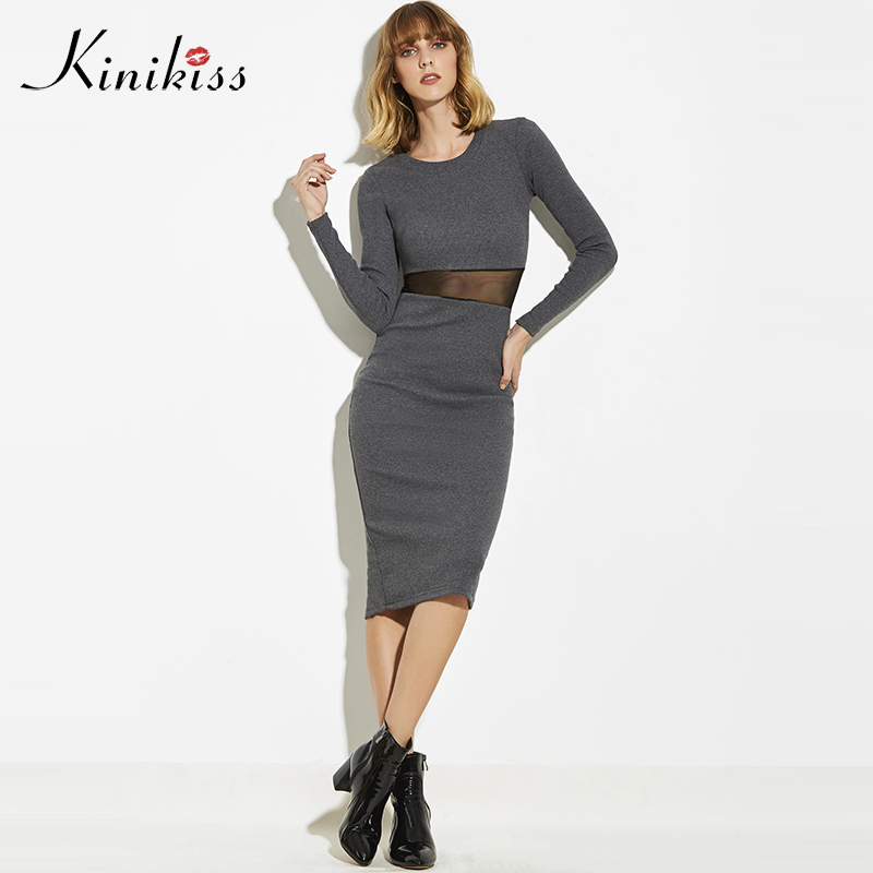 Kinikiss 2018 Sexy Women Dress Slim Bodycon Knitted Sweater Dresses Office Lady Waist See-through Basic Party Night Club Dress