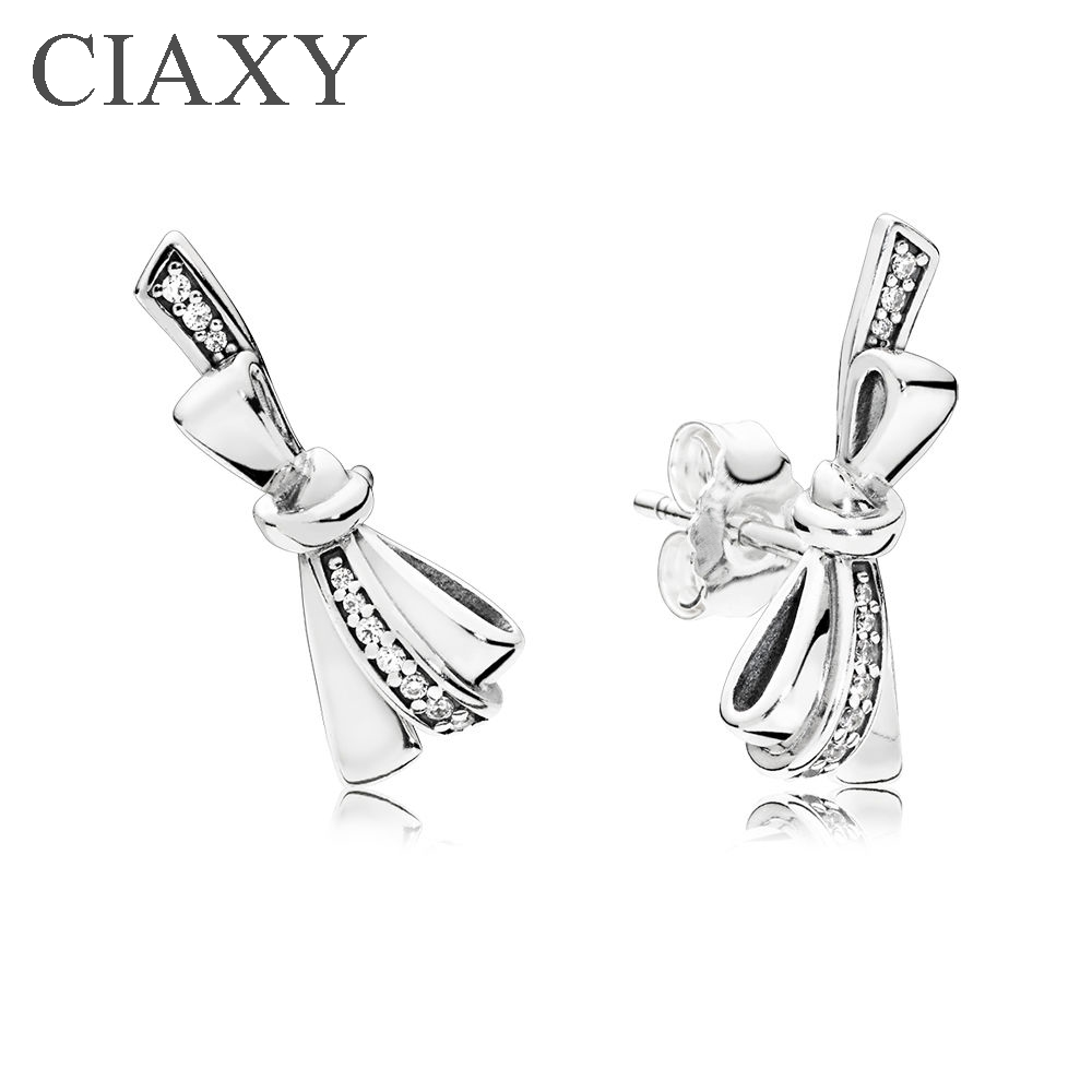 Brilliant Bows Stud Earrings with Clear CZ 2018 Mother Day 925 Sterling  Silver Original Pandora Earrings For DIY Jewelry Gift
