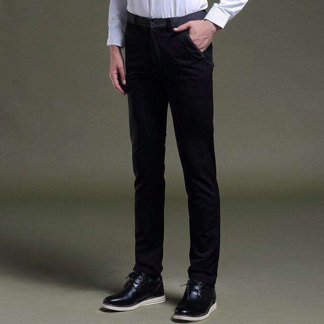 27fb59cfcc 2017 mens negro vestido Pantalones formal Pantalones slim fit boda hombres  negro Pantalones de traje negocios