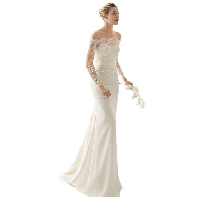 Simple Cheap Elegant Long sleeves lace appliques mermaid bridal ...