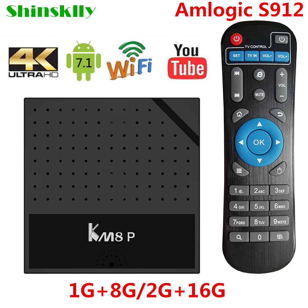 Shinsklly KM8P Android 7.1 Smart TV Box Amlogic S912 Octa Core ram1GB/2GB 8GB 16GB 4K TV Box 3D WiFi Media Player Set top Box shinsklly x92 android tv box amlogic s912 octa core ram 2g rom 16g 32g smart tv box android 6 0 wifi 4k 3d player set top box