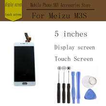 In Stock! High Quality For Meizu M3S LCD Display Screen Digitizer Touch Screen M3S mini Prime Glass Panel 5.0Inch FreeTools