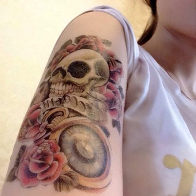 3eb7cd2288af5 HC2004-Temporary Tattoo Hand/Skull,Rose,pocket watch/waterproof Big size  fake tatoo sticker art/Arm,Armband,hand,Back