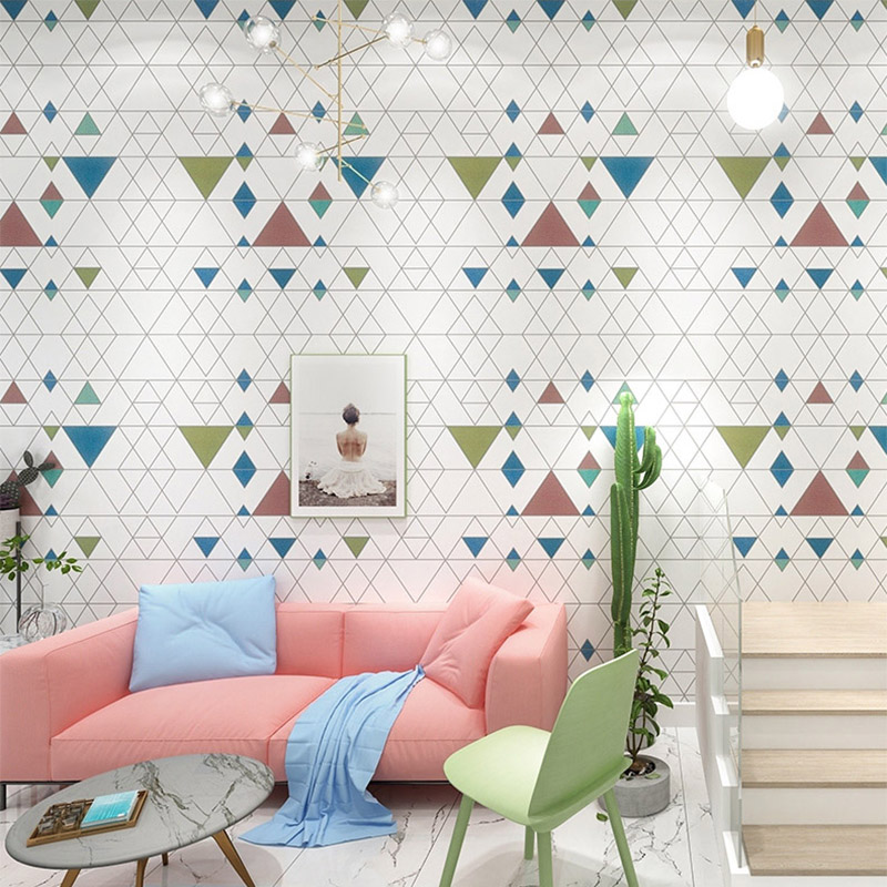 Modern Simple 3D Rhombus Geometric Pattern Lattice Wallpaper Living Room TV Sofa Home Decor Background Wall Papers For Walls 3 D